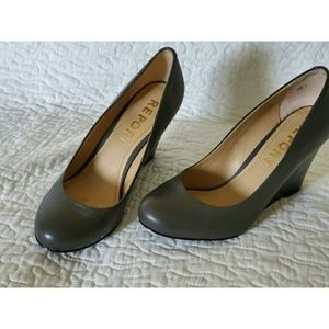 """REPORT Gray leather 4"""" Wedge Pump Shoes Sz 9"""